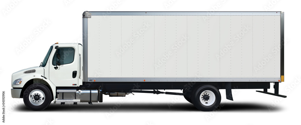 Fototapeta American white delivery truck side view. Isolated on a white background.