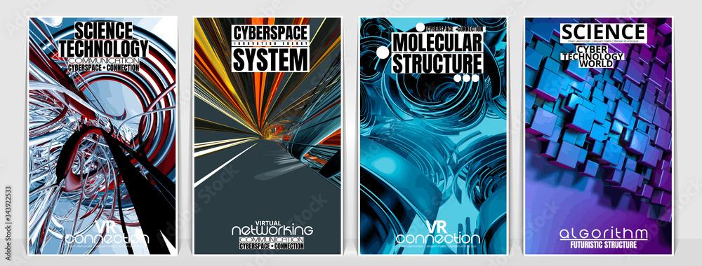 Fototapeta Poster background of 3D rendering abstract technology digital hi tech concept