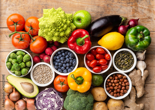 Fototapeta Healthy eating ingredients: fresh vegetables, fruits and superfood. Nutrition, diet, vegan food concept obraz