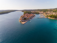Aerial View Of Banjol Coastline During The Summer, Island Rab, Croatia.