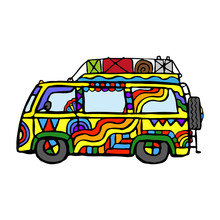 Beautiful Bright Cartoon Hippie Car. Side View. Hand Drawn Vector Graphic Illustration. Isolated Object On A White Background. Isolate.