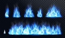 Blue Fire Flame Realistic Set