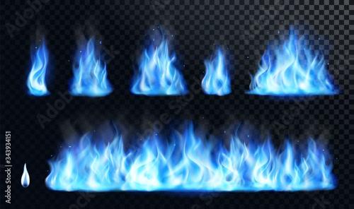 Fotografie, Tablou Blue fire flame realistic set