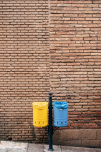 Two Garbage Cans - Yellow And ...