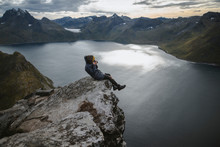 Norway, Senja, Man Taking Phot...