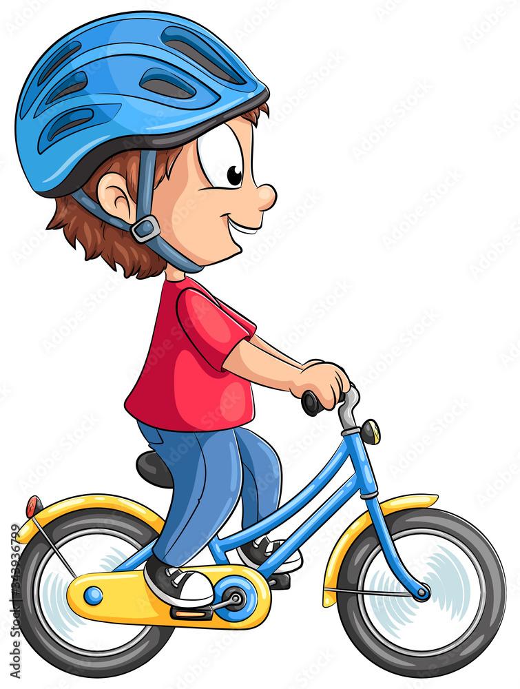 Fototapeta Niedlicher Junge fährt Fahrrad - Vektor-Illustration