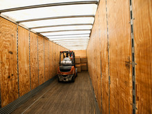 Forklift Truck Inside Trailer