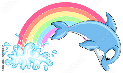 Leinwand Poster Niedlicher Delfin mit Regenbogen - Vektor-Illustration