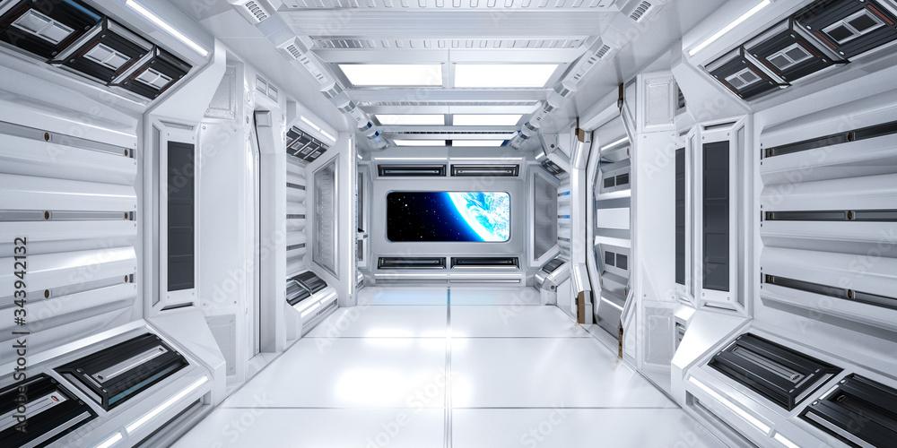 Fototapeta Futuristic Architecture Sci-Fi Corridor Interior in Space Station with Earth Planet View, 3D Rendering
