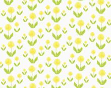 Illustration Of Yellow Dandelion Flowers On White Background