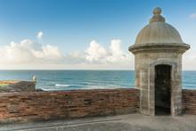 Watch Tower In El Morro Castle At Old San Juan, Puerto Rico