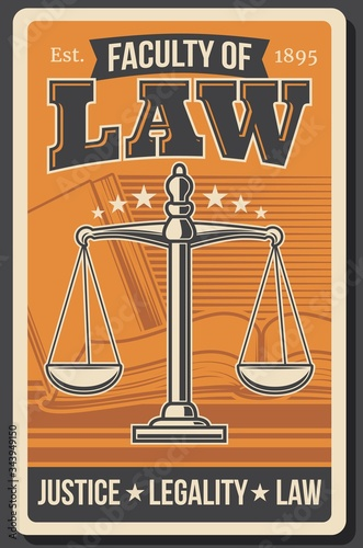 Photo Law faculty, juridical university, legal justice academy vector retro vintage poster