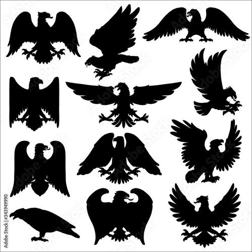 Photo Heraldic eagle, vector icons of Gothic heraldic hawk or falcon birds