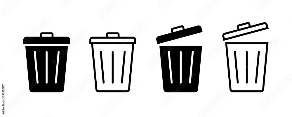 Fototapeta Trash bin. Vector isolated icons. Black vector trash dusbin sign icon isolated elements.