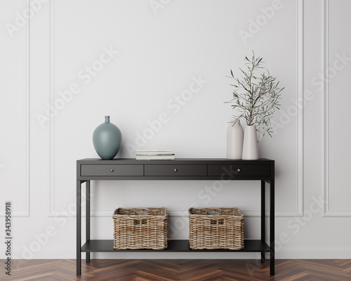 Fotografie, Obraz Wood Console Cabinet Contemporary Modern Foyer Living Room Blank Empty Wall Copy