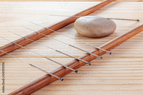 Photo Table with needles for acupuncture