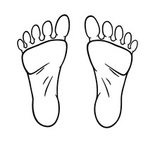 Human Feet Black Silhouette. S...