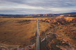 Lonely Utah's road in the evening from above