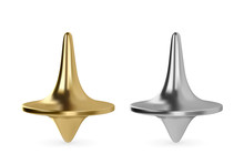 Realistic Vector Spinning Top Toy. Golden And Silver Metal Whirligig.