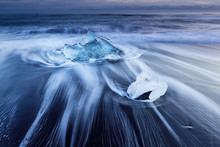 Ice Blocks At Diamond Beach In...