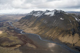 Aerial view of mountains and valley southern Iceland