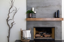Modern Gray Textured Fireplace...