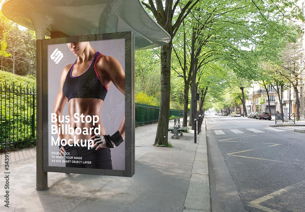 Fototapeta Billboard in Bus Stop Mockup