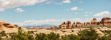 Panorama Of Red Rocks In The Canyonlands On A Sunny Day