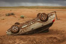 Upside Down Subaru Flipped Off Road In The Dangerous Desert Of Utah