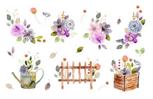 Floral Garden Arrangement Watercolor Collection