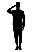 Male Soldier Full Body Silhouette Saluting Ceremonial Greeting Army Isolated On White Background Vector