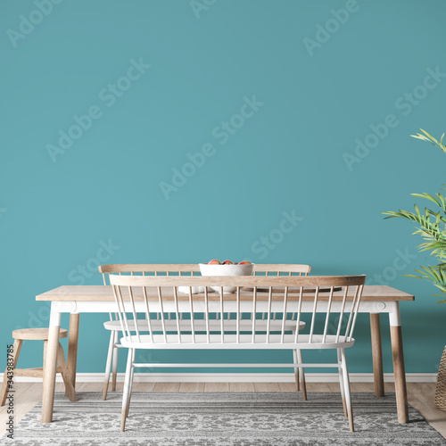 Mock up interior in farmhouse style, wooden dining room with wooden and white ch Fotobehang