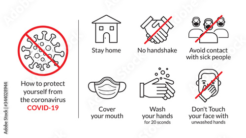 protect yourself tips from coronavirus COVID-19, Stay home, no handshake, sick people, Wash hands, don't Touch face, Cover your mouth mask, set of illustration in infographics, vector, icon, style Canvas Print