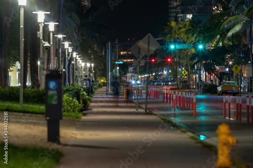 Fototapeta Night photo Ocean Drive Miami FL USA obraz na płótnie
