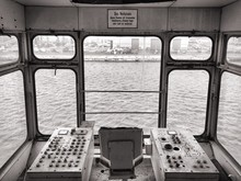 Ferry Sailing On Sea Seen Through Windows