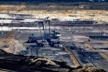 High Angle View Of Drilling Rig At Coal Mine