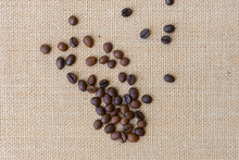 High Angle View Of Coffee Beans On Burlap