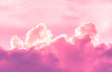 Bright Pink Fume Clouds In Sky