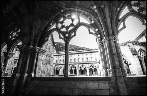 Grayscale inside shot of the famous Monastery of Iranzu with ancient interior de Canvas Print