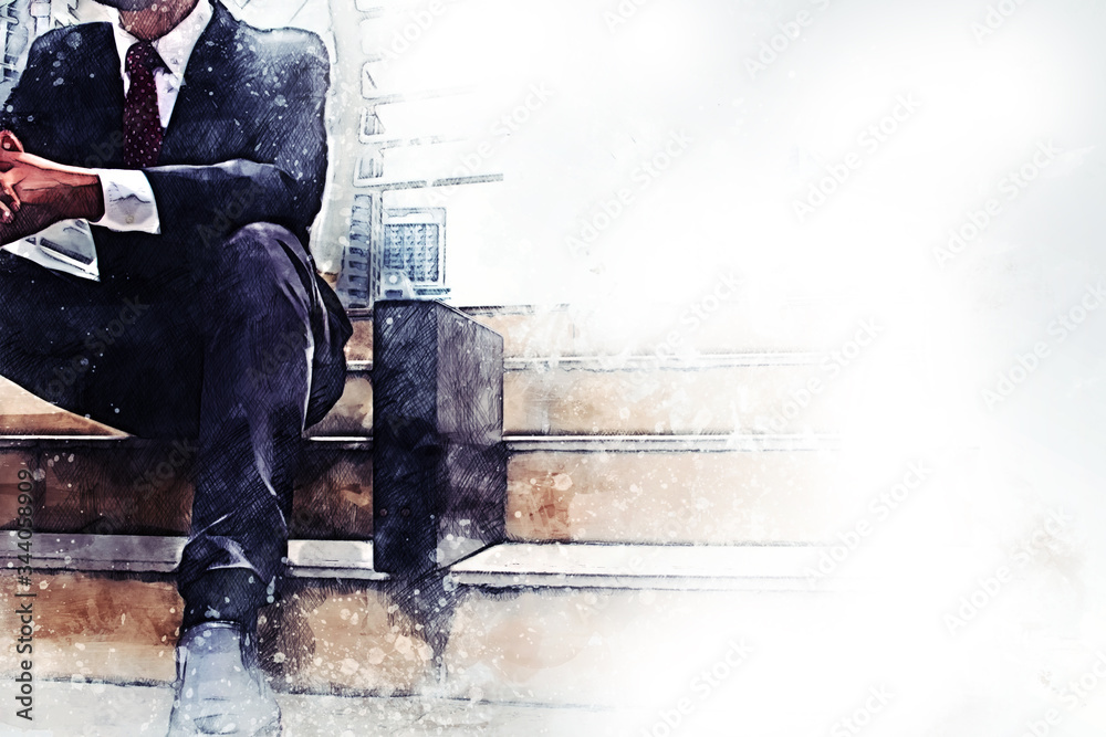Abstract happiness business man looking smart and sitting on walking street on watercolor illustration painting background.