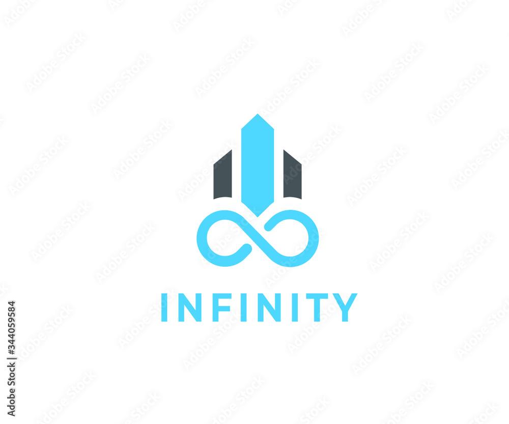 Fototapeta Infinity icon with building