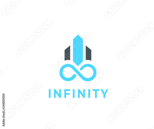 Infinity icon with building - 344059584