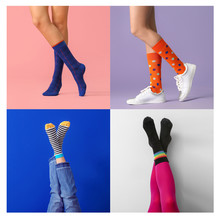 Collage Of Photos With Young Woman In Different Socks