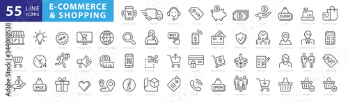 Fototapeta Set of 50 E-commerce and shopping web icons in line style