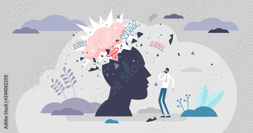 Fototapeta Head explode vector illustration