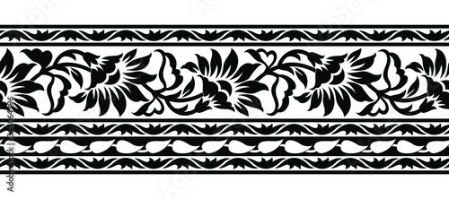 Fotografía Seamless black and white floral border