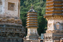 Yinshan Pagoda Forest. Complexes Of Ancient Pagodas And A Tourist Attraction Of China