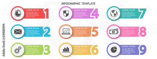 Infographic template with numbers 9 options. Canvas-taulu