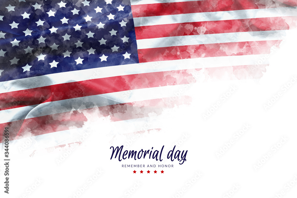 Fototapeta Memorial Day background illustration. text Memorial Day, remember and honor with America flag watercolor painting isolated on white background, vintage grunge style