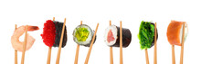 Collage Of Different Sushi Rol...